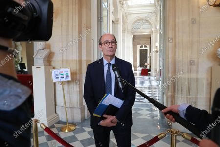 French righ-wing party Les Republicains (LR) deputy and president of the National Assembly's Finance commission Eric Woerth speaks to the press as he arrives to attend a debate on a draft amending budget law (PLFR) at the French National Assembly in Paris, France, 19 March 2020.