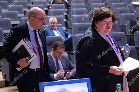 Belgian Vice-Prime Minister Koen Geens (L) and Federal Minister Maggie De Block (R) during the Economic Risk Management Group ERMG concerning the current coronavirus crisis, at the Belgium national bank BNB / NBB, in Brussels, Belgium 19 March 2020. Countries around the world are taking increased measures to stem the widespread of the SARS-CoV-2 coronavirus which causes the Covid-19 disease.