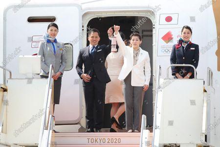 (L-R) Tadahiro Nomura, Saori Yoshida, : Tokyo 2020 Olympic Flame Arrival Ceremony at Matsushima base, Miyagi, Japan.