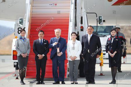 (L-R) Tadahiro Nomura, Yoshiro Mori, Saori Yoshida, JOCYasuhiro Yamashita, : Tokyo 2020 Olympic Flame Arrival Ceremony at Matsushima base, Miyagi, Japan.