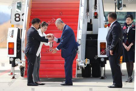 (L-R) Tadahiro Nomura, Saori Yoshida, Yoshiro Mori, JOC Yasuhiro Yamashita, : Tokyo 2020 Olympic Flame Arrival Ceremony at Matsushima base, Miyagi, Japan.