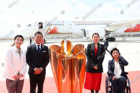(L-R) Saori Yoshida, Tadahiro Nomura, Satomi Ishihara, Aki Taguchi, : Tokyo 2020 Olympic Flame Arrival Ceremony at Matsushima base, Miyagi, Japan.
