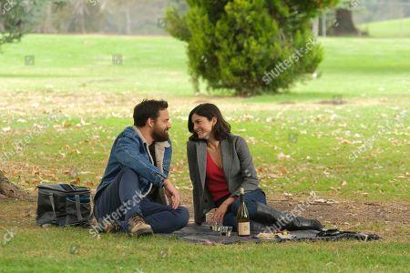 Jake Johnson as Grey McConnell and Monica Barbaro as Liz Melero