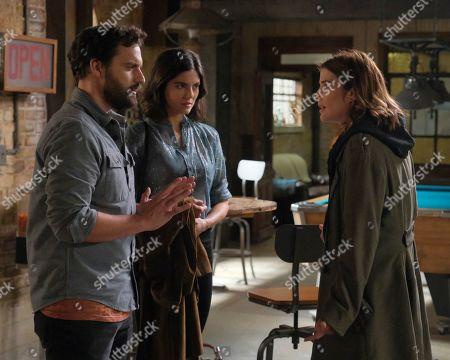 Jake Johnson as Grey McConnell, Monica Barbaro as Liz Melero and Cobie Smulders as Dex Parios