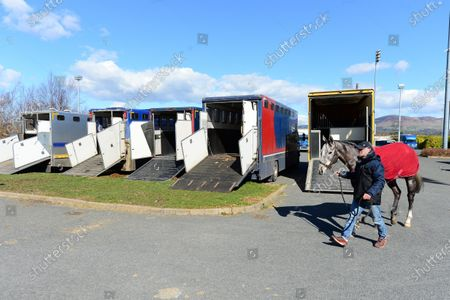 DUNDALK. Runners and grooms arrive to the races ahead of today's race meeting behind closed doors because of Coronavirus.