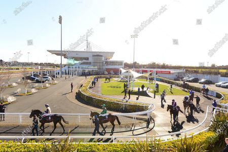 DUNDALK. The scene at the County Louth all weather venue with runners and riders leaving the parade ring for the 4th race The View Restaurant At Dundalk Stadium Maiden at today's race meeting behind closed doors because of Coronavirus.