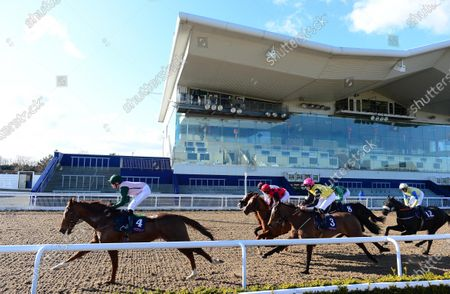 DUNDALK. The scene at the County Louth all weather venue for today's race meeting held behind closed doors because of Coronavirus showing the field in The Crown Plaza Dundalk Race & Stay Handicap which was declared void because of an injured jockey on the track.
