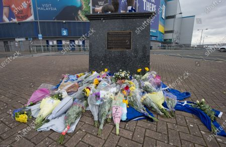 Tributes at Cardiff City Stadium in memory of Cardiff City player Peter Whittingham who tragically passed away earlier this week