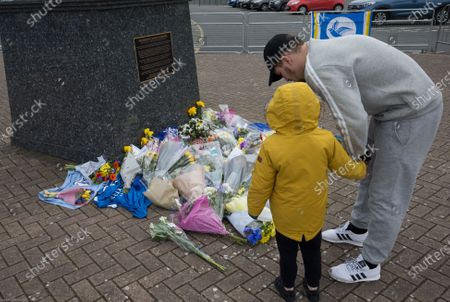 Stock Photo of Tributes at Cardiff City Stadium in memory of Cardiff City player Peter Whittingham who tragically passed away earlier this week