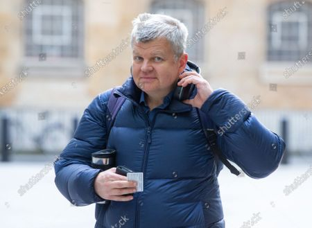 Adrian Chiles, Television and Radio presenter, arriving at the BBC studios.