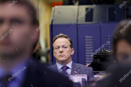Stock Picture of Former White House press secretary Sean Spicer (C) sits in the briefing room of the White House before a Coronavirus Task Force news conference in Washington, D.C., USA, 20 March 2020. Americans will have to practice social distancing for at least several more weeks to mitigate U.S. cases of Covid-19, Anthony S. Fauci of the National Institutes of Health said today. Countries around the world are taking increased measures to stem the widespread of the SARS-CoV-2 coronavirus which causes the Covid-19 disease.
