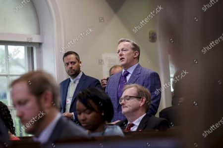 Sean Spicer, former White House press secretary, asks a question during a Coronavirus Task Force news conference in the briefing room of the White House