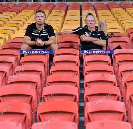 Stock Picture of Rabbitohs coach Wayne Bennett (R) watches his team play from the empty grandstands during the round two Australian National Rugby League (NRL) match between the Brisbane Broncos and South Sydney Rabbitohs at Suncorp Stadium in Brisbane, Australia 20 March 2020 (issued 21 March 2020). Games are currently played behind closed doors amid fears of the spread of the coronavirus.