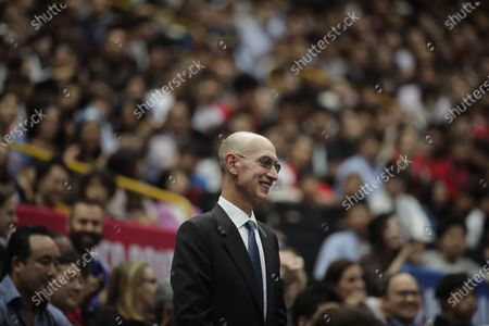 Commissioner Adam Silver is introduced during an NBA preseason basketball game between the Houston Rockets and the Toronto Raptors in Saitama, near Tokyo. Silver said in an interview that the league is considering all options, best-case, worst-case and countless ideas in between, as it tries to come to grips with the coronavirus pandemic