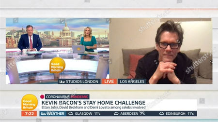 Piers Morgan and Charlotte Hawkins with Kevin Bacon
