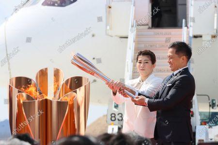 Editorial picture of Tokyo Olympic Flame Arrival Ceremony  at Matsushima base, Miyagi, Japan - 20 Mar 2020