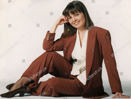 Stock Picture of Charlotte Attenborough Actress Wearing A Brown Trouser Suit And Cream Blouse...