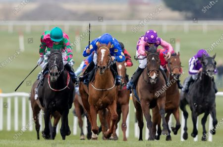 The Naas Racecourse Business Club Madrid Handicap. Chris Hayes on In From the Cold (far left) wins the race