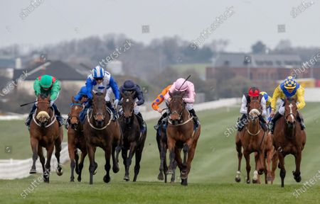 The Lodge Park Stud Irish EBF Park Express Stakes. Chris Hayes on Lemista (blue and white) comes home to win