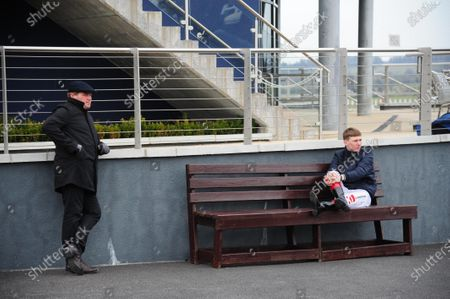 NAAS. Shane Lyons (Assistant to trainer & brother GER LYONS) and jockey Colin Keane obeying the social distancing at Naas today.
