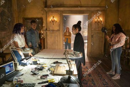 Ariela Barer as Gert, Gregg Sulkin as Chase Stein, Virginia Gardner as Karolina Dean, Lyrica Okano as Nico Minoru and Allegra Acosta as Molly Hernandez