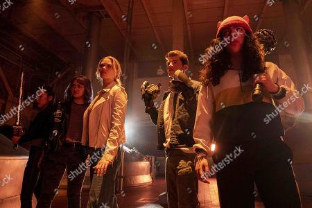 Lyrica Okano as Nico Minoru, Ariela Barer as Gert Yorkes, Virginia Gardner as Karolina Dean, Gregg Sulkin as Chase Stein and Allegra Acosta as Molly Hernandez