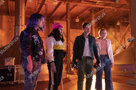 Ariela Barer as Gert Yorkes, Allegra Acosta as Molly Hernandez, Gregg Sulkin as Chase Stein and Virginia Gardner as Karolina Dean