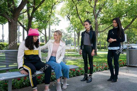 Allegra Acosta as Molly Hernandez, Virginia Gardner as Karolina Dean, Lyrica Okano as Nico Minoru and Brittany Ishibashi as Tina Minoru