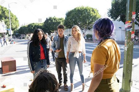 Allegra Acosta as Molly Hernandez, Gregg Sulkin as Chase Stein, Karolina Dean and Ariela Barer as Gert Yorkes
