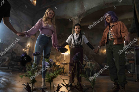 Virginia Gardner as Karolina Dean, Lyrica Okano as Nico Minoru and Ariela Barer as Gert Yorkes