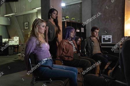 Virginia Gardner as Karolina Dean, Ariela Barer as Gert Yorkes and Gregg Sulkin as Chase Stein