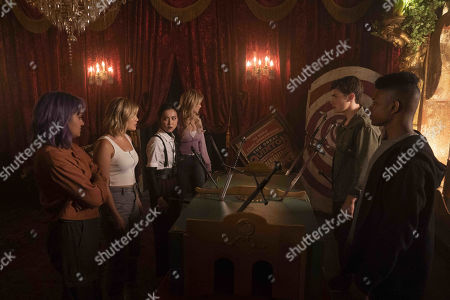 Ariela Barer as Gert Yorkes, Olivia Holt as Tandy Bowen/Dagger, Lyrica Okano as Nico Minoru, Virginia Gardner as Karolina Dean, Gregg Sulkin as Chase Stein and Aubrey Joseph as Tyrone Johnson/Cloak