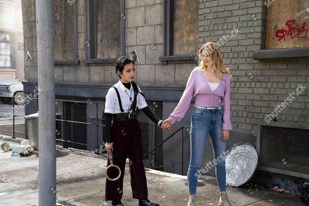 Lyrica Okano as Nico Minoru and Virginia Gardner as Karolina Dean