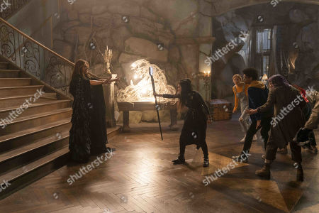 Elizabeth Hurley as Morgan le Fay, Lyrica Okano as Nico Minoru, Virginia Gardner as Karolina Dean, Rhenzy Feliz as Alex Wilder and Ariela Barer as Gert Yorkes