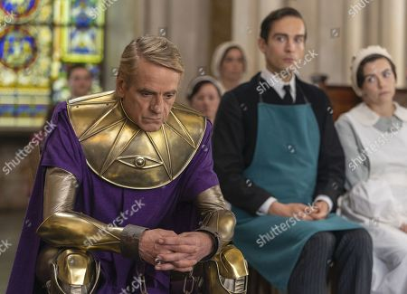 Jeremy Irons as Adrian Veidt, Tom Mison as Mr. Phillips/Game Warden and Sara Vickers as Ms. Crookshanks
