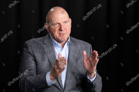 Steve Ballmer, founder of USA Facts, talks during an interview in New York. Los Angeles Clippers owner Steve Ballmer is buying the Forum for $400 million, clearing the way for the billionaire to build a new arena down the street in Inglewood, California