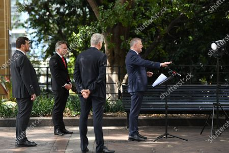Leader of the Australian Opposition Anthony Albanese (R) speaks during a press conference regarding coronavirus and COVID-19 in Circular Quay, Sydney, Australia, 25 March 2020.