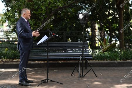 Leader of the Australian Opposition Anthony Albanese speaks during a press conference regarding coronavirus and COVID-19 in Circular Quay, Sydney, Australia, 25 March 2020.