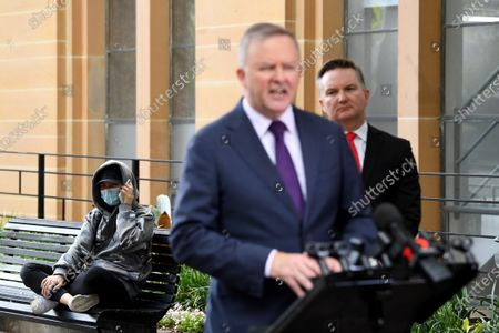 Leader of the Australian Opposition Anthony Albanese (C) and Shadow Minister for Health Chris Bowen (R) attend a press conference regarding coronavirus and COVID-19 in Circular Quay, Sydney, Australia, 25 March 2020.