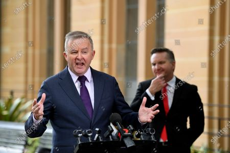Leader of the Australian Opposition Anthony Albanese (L) and Shadow Minister for Health Chris Bowen (R) attend a press conference regarding coronavirus and COVID-19 in Circular Quay, Sydney, Australia, 25 March 2020.