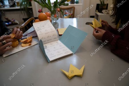 Thomas Smith (L), husband of Susanne Hassler-Smith, eats a fruit as a roommate is making origami in their shared flat in Vienna, Austria, 20 March 2020 (issued 25 March 2020). Susanne Hassler-Smith, 30-year-old Austrian freelance photographer and videographer from Graz, Styria, married Thomas Smith, 34-year-old American video editor and stock trader, on 20 February 2020 in Graz, Austria. Soon after, they had to cancel their honeymoon in Venice, Italy, as the spread of the Covid-19 disease had broken out in Europe. While in the midst of moving Susanne's home from Graz to Vienna in February, they finished settling in a shared flat in Vienna a week before Covid-19 matters worsened. Susanne will apply for a Green Card, Thomas' scheduled flight back to Los Angeles was cancelled, as were many other international flights worldwide due to the global coronavirus outbreak. Susanne and Thomas begun applying for VISA extensions for his stay in the European Union to overcome the crises together. Now, they are a part of a shared flat in Vienna, together with roommates from France and Germany, whom the couple didn't know before. 'With everything as it is at the moment, we don't plan too far ahead and take each day as it comes,' Susanne says. 'We stick to the home office lifestyle and social distancing measures as instructed to help flatten the curve of this epidemic.' They keep the daily routine as normal for everyone as possible. Coffee, work, lunch, workout, dinner and from time to time they meet for a coffee in the kitchen or on the balcony on sunny days. Austrian Chancellor Kurz had announced extended restrictions concerning the movement of individuals, the closure of commercial activities and other extensions of the preventive measures aimed at slowing down the pandemic COVID-19 disease caused by the SARS-CoV-2 coronavirus, from 16 March 2020 on until at least Easter Monday, 13 April 2020.