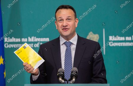 Irish Taoiseach Leo Varadkar speaks during a press conference at the launch of a new Covid-19 information booklet in Dublin City, Ireland, 25 March 2020. The new booklet will be posted to every household in Ireland by An Post the Irish poastal service. Countries around the world are taking increased measures to stem the widespread of the SARS-CoV-2 coronavirus which causes the Covid-19 disease.