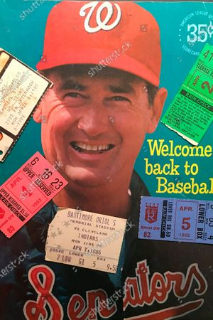 Stock Image of The Washington Senators 1969 opening day program featuring Ted Williams, adorned with ticket stubs from opening days in the 1980's is shown in New York, . To baseball fans, opening day is an annual rite of spring that evokes great anticipation and warm memories. This year's season was scheduled to begin Thursday, March 26, 2020, but there will be no games for a while because of the coronavirus outbreak