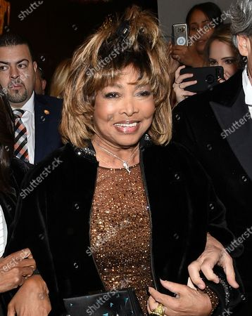 """Stock Picture of Singer Tina Turner at the opening night of """"Tina - The Tina Turner Musical"""" at the Lunt-Fontanne Theatre in New York. Turner's song """"Private Dancer""""is among 25 recordings being inducted to the National Recording Registry"""