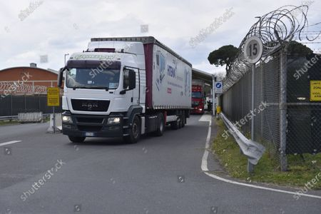 Trucks from Camp Darby American base between Pisa and Livorno, the trucks with sanitary material destined for Lombardy for Covid-19 emergency