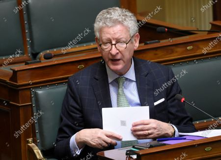 Belgian Minister of Interior Affairs Pieter De Crem during a plenary session of Belgian Parliament in Brussels, Belgium, 26 March 2020. Belgium Parliament should vote on new special power for government following Coronavirus outbreak. In order to contain the spread of coronavirus, Belgium is implementing confinement guidelines for the public which is scheduled to be in place until 05 April 2020. Only supermarkets and essential trade will remain open. Countries around the world are taking increased measures to stem the further spread of the SARS-CoV-2 coronavirus which causes the Covid-19 disease.