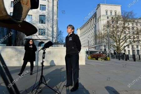 Cressida Dick, Commissioner of the Metropolitan Police Service in London, asking officers who have recently left the force to consider rejoining, New Scotland Yard, London.