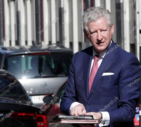 Minister of Interior Affairs and Foreign Trade Pieter De Crem arrives for a meeting of the National Safety Council, consisting of politicians and intelligence services, to discuss tackling Covid-19