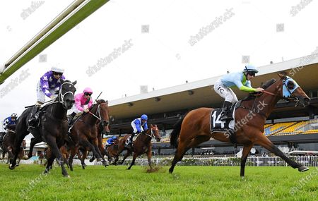Jockey Tim Clark rides Positive Peace to victory in race 8, the Jim Beam Emancipation Stakes, during Stakes Day at Rosehill Gardens Racecourse in Sydney,  Australia, 28 March 2020.
