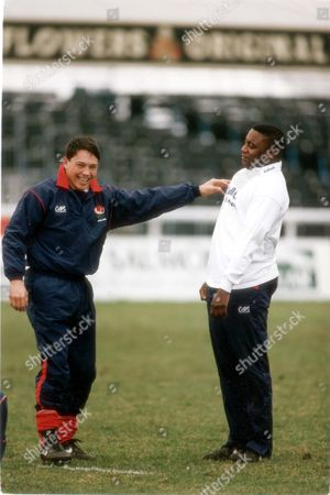 England Rugby Union Player Rory Underwood Provides A Spot Of Entertainment With New Cap Steve Ojomoh. Pkt3782-290143
